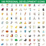 100 personal development icons set, cartoon style. 100 personal development icons set in cartoon style for any design illustration vector illustration