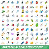 100 personal development icons set. In isometric 3d style for any design illustration royalty free illustration