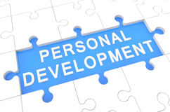 Personal Development. Puzzle 3d render illustration with word on blue background Stock Images