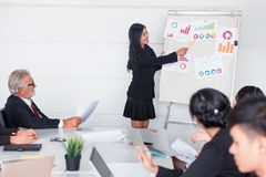 Personal development training course for new team. Businesspeople meeting and discussing with colleagues in conference room. Personal development training royalty free stock images
