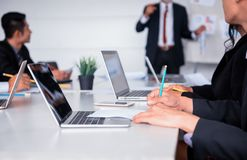 Personal development training course for new team. Businesspeople meeting and discussing with colleagues in conference room. Personal development training Stock Image
