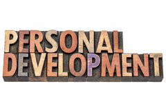 Personal development in wood type. Personal development  - isolated words in vintage letterpress  wood type printing blocks Stock Photography
