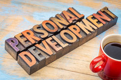 Personal development in wood type Stock Images
