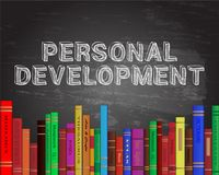 Personal Development Books Blackboard Stock Image
