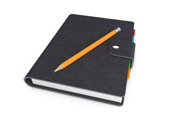 Personal Diary or Organiser Book with  Black Leather Cover and P. Personal Diary or Organiser Book with Black Leather Cover and Pencil on a white background. 3d Royalty Free Stock Photo