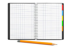 Personal Diary or Organiser Book with Blank Pages and Pencil. 3d Stock Photography