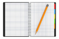 Personal Diary or Organiser Book with Blank Pages and Pencil. 3d Stock Images