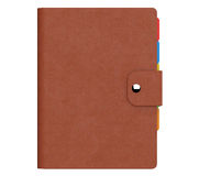Personal Diary or Organiser Book with Brown Leather Cover. 3d Re. Personal Diary or Organiser Book with Brown Leather Cover on a white background. 3d Rendering Stock Photos