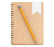 Personal Diary or Organiser Books with Pencil. 3d Rendering Royalty Free Stock Photo