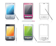 Personal Digital Assistants (PDA), 4 multicolored Stock Photo