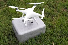 Personal drone. Use for recreational and commercial UAV mainly intended for aerial cinematography and photography. Copy space stock photo