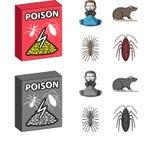 Personal, embalando con el veneno y la historieta de los parásitos, iconos monocromáticos en la colección del sistema para el dis Fotografía de archivo libre de regalías