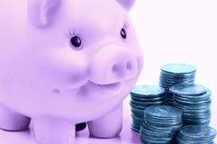 Personal Finance 3. Piggy Bank and Stacked Quarters in Cyan and Violet Tones Stock Images