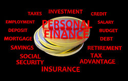 Personal finance black and red render. 3D render of possible topics regarding personal finances. The composition is on a black background with red text royalty free illustration