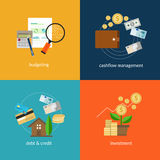 Personal finance icon set. Such as cashflow management and spending plan in vector illustration Royalty Free Stock Photos
