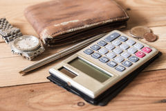 Personal finance object on wood. Table and business concept stock image