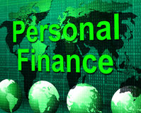 Personal Finance Shows Finances Cost And Commerce. Personal Finance Indicating Cost Accounting And Accountant Stock Photos