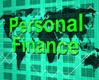Personal Finance Shows Savings Earnings And Accounting Stock Image