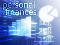 Personal finances. Illustration of Spreadsheet and business charts Stock Photography