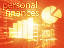 Personal finances. Illustration of Spreadsheet and business charts Stock Photos