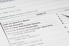 Personal financial statement assets form Royalty Free Stock Photo