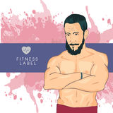 Personal fitness trainer in gym. Promotional vector illustration of sport club, individual training. Stock Photography