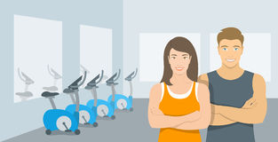 Personal fitness trainers man and woman in gym illustration Royalty Free Stock Photo