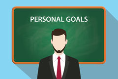 Personal goals white text illustration with a beard man wearing black suit standing in front of green chalk board Stock Photos