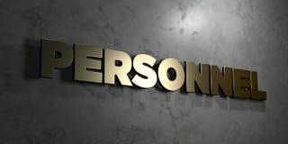 Personal - Goldzeichen angebracht an der glatten Marmorwand - 3D übertrug freie Illustration der Abgabe auf Lager Stockbild