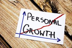 Personal growth - handwriting in a black ink on wooden background concept for personal development. Personal growth - handwriting in a black ink on wooden Royalty Free Stock Photos