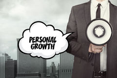 Personal Growth text on speech bubble with businessman Stock Photography