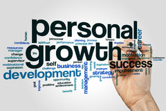 Personal growth word cloud. Concept on grey background Stock Image
