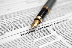 Personal guaranty agreement Stock Photos