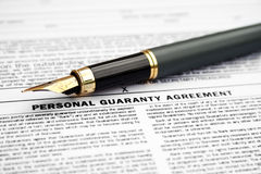 Personal guaranty agreement Stock Photo