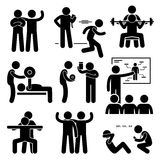 Personal Gym Coach Trainer Instructor Exercise Workout Icons. A set of human pictogram representing exercising and workout with a personal coach trainer royalty free illustration