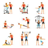Personal gym coach trainer or instructor set, people exercising under control of personal trainer of vector. Illustrations isolated on white background vector illustration