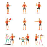 Personal gym coach trainer or instructor set of vector Illustrations. Isolated on white background Royalty Free Stock Photos