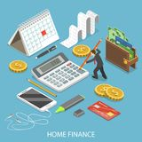 Personal home finance flat isometric vector. Personal home finance flat isometric vector concept. Man is calculating a budget surrounded by corresponding Royalty Free Stock Images
