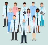 Personal hospitalario El grupo de doce hombres y mujeres se cuida y cuida Gente médica Ejemplo plano del vector del estilo libre illustration