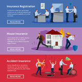 Personal And House Insurance Banners Set Stock Photos