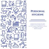 Personal hygiene blue line banner. Set of elements of shower, soap, bathroom, toilet, toothbrush and other cleaning. Pictograms. Line out. Simple silhouette Stock Photos