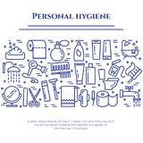 Personal hygiene blue line banner. Set of elements of shower, soap, bathroom, toilet, toothbrush and other cleaning pictograms. Li. Ne out. Simple silhouette Royalty Free Stock Photo