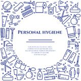 Personal hygiene blue line banner. Set of elements of shower, soap, bathroom, toilet, toothbrush and other cleaning pictograms. Li. Ne out. Simple silhouette Royalty Free Stock Photos