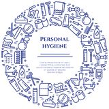 Personal hygiene blue line banner. Set of elements of shower, soap, bathroom, toilet, toothbrush and other cleaning pictograms. Li. Ne out. Simple silhouette Stock Image