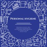 Personal hygiene blue line banner. Set of elements of shower, soap, bathroom, toilet, toothbrush and other cleaning pictograms. Li. Ne out. Simple silhouette Royalty Free Stock Images
