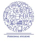 Personal hygiene blue line banner. Set of elements of shower, soap, bathroom, toilet, toothbrush and other cleaning pictograms. Li. Ne out. Simple silhouette Stock Photos