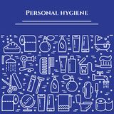 Personal hygiene blue line banner. Set of elements of shower, soap, bathroom, toilet, toothbrush and other cleaning pictograms. Li. Ne out. Simple silhouette Royalty Free Stock Photography
