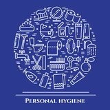 Personal hygiene blue line banner. Set of elements of shower, soap, bathroom, toilet, toothbrush and other cleaning pictograms. Li. Ne out. Simple silhouette Royalty Free Stock Image