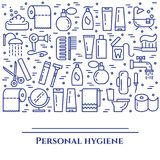 Personal hygiene blue line banner. Set of elements of shower, soap, bathroom, toilet, toothbrush and other cleaning. Pictograms. Line out. Simple silhouette Stock Photo