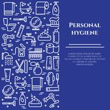 Personal hygiene blue line banner. Set of elements of shower, soap, bathroom, toilet, toothbrush and other cleaning pictograms. Li. Ne out. Simple silhouette Stock Photography